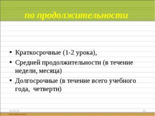 по продолжительности Краткосрочные (1-2 урока), Средней продолжительности (в