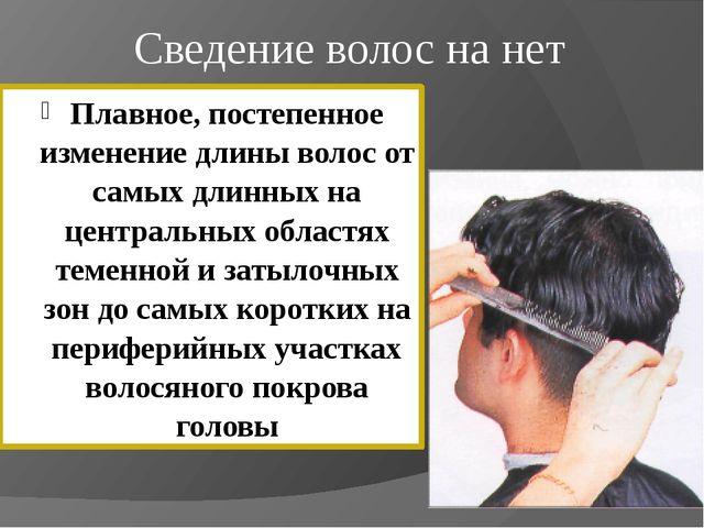 Сведение волос на нет Плавное, постепенное изменение длины волос от самых дли...