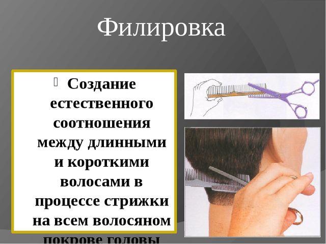 Филировка Создание естественного соотношения между длинными и короткими волос...
