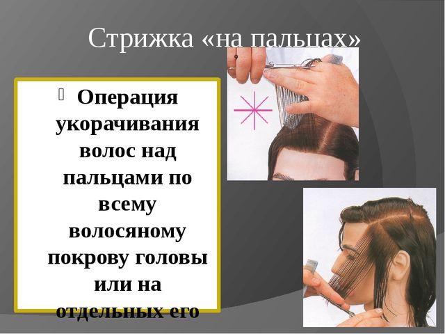 Стрижка «на пальцах» Операция укорачивания волос над пальцами по всему волося...