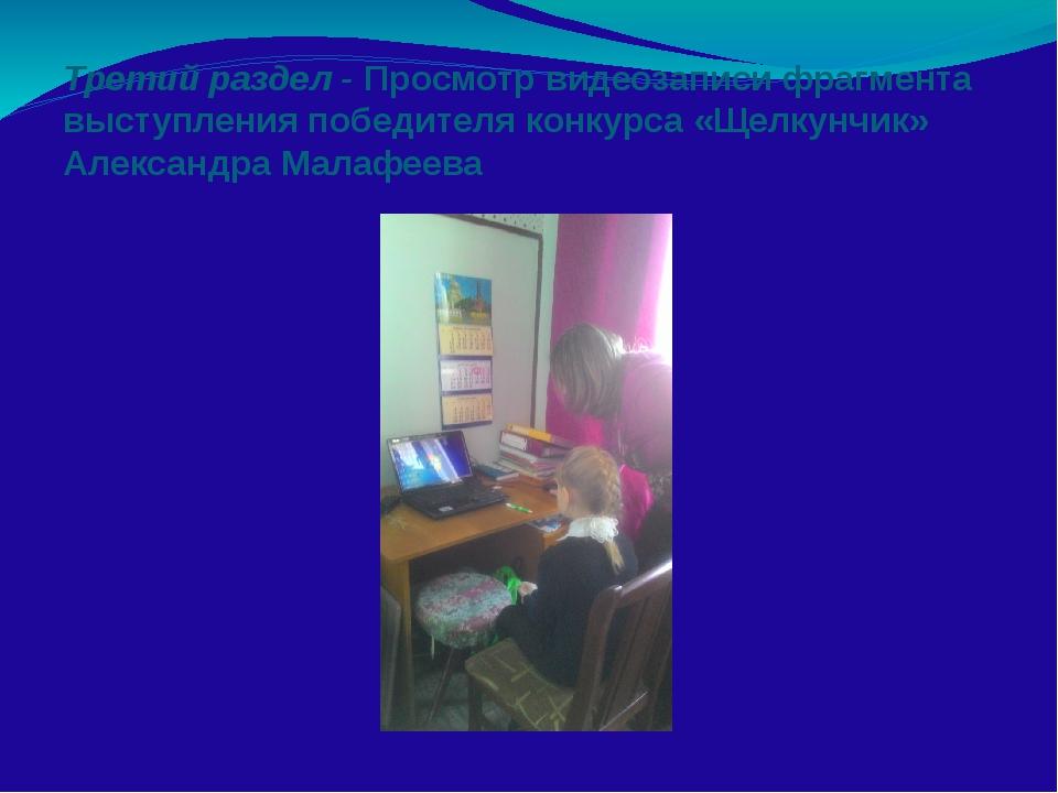 Третий раздел - Просмотр видеозаписи фрагмента выступления победителя конкурс...