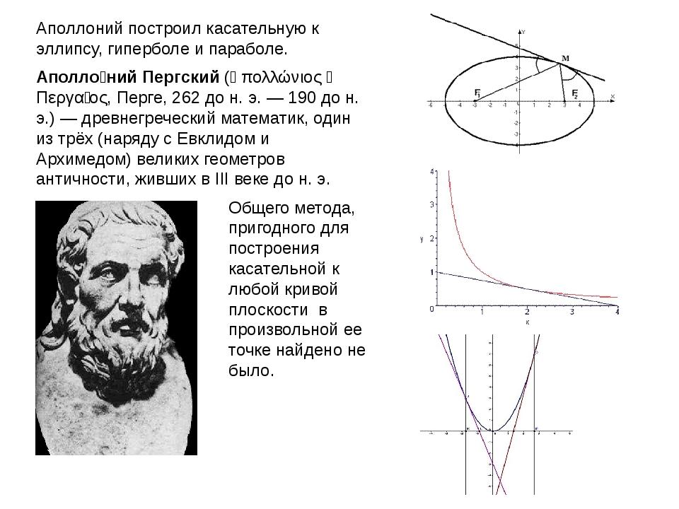 Общего метода, пригодного для построения касательной к любой кривой плоскости...