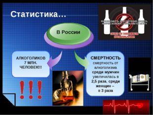 www.themegallery.com Статистика… АЛКОГОЛИКОВ 7 МЛН. ЧЕЛОВЕК!!! В России СМЕРТ