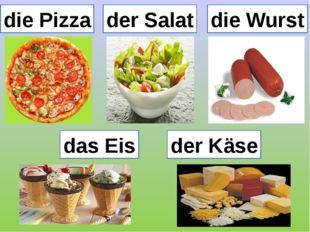 die Pizza der Salat die Wurst das Eis der Käse