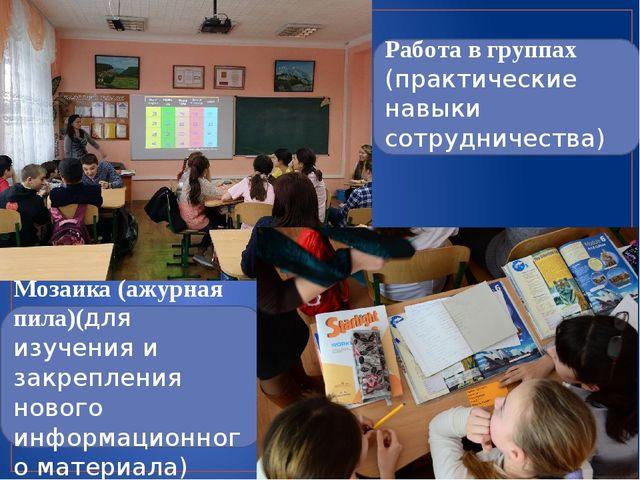Работа в группах (практические навыки сотрудничества) Мозаика (ажурная пила)...