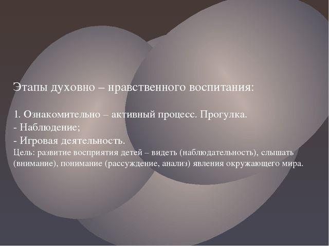 Этапы духовно – нравственного воспитания: 1. Ознакомительно – активный процес...