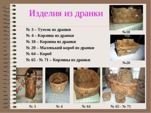 Изделия из дранки № 3 – Туесок из дранки № 4 – Корзина из дранки № 18 – Корз