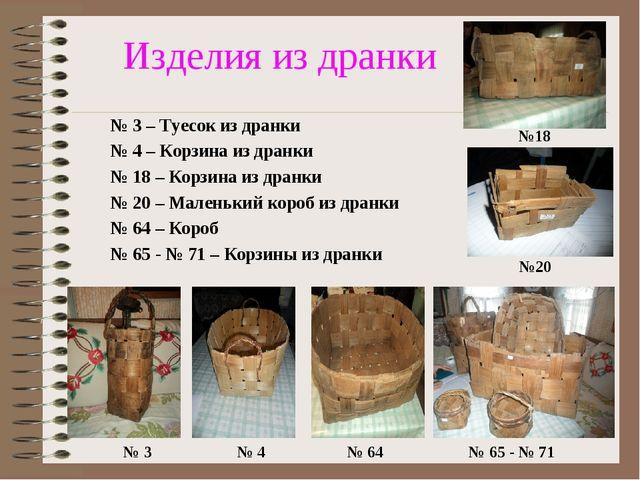 Изделия из дранки № 3 – Туесок из дранки № 4 – Корзина из дранки № 18 – Корз...