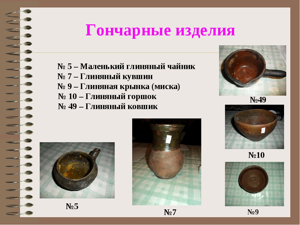 Гончарные изделия №5 №9 №49 №10 №7 № 5 – Маленький глиняный чайник № 7 – Гли...