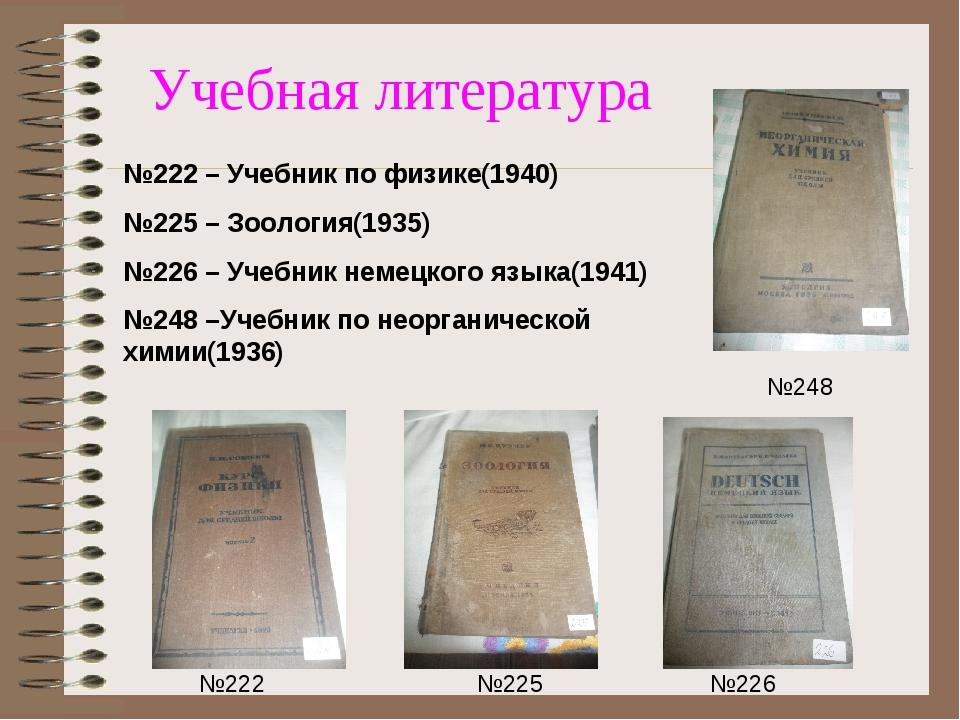 Учебная литература №225 №222 №226 №248 №222 – Учебник по физике(1940) №225 –...