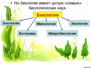 Но биология имеет целую «семью» биологических наук. Биология Зоология Ботаник