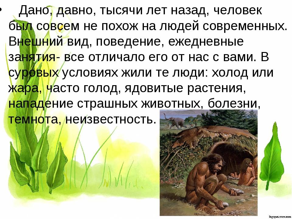 Дано, давно, тысячи лет назад, человек был совсем не похож на людей современ...