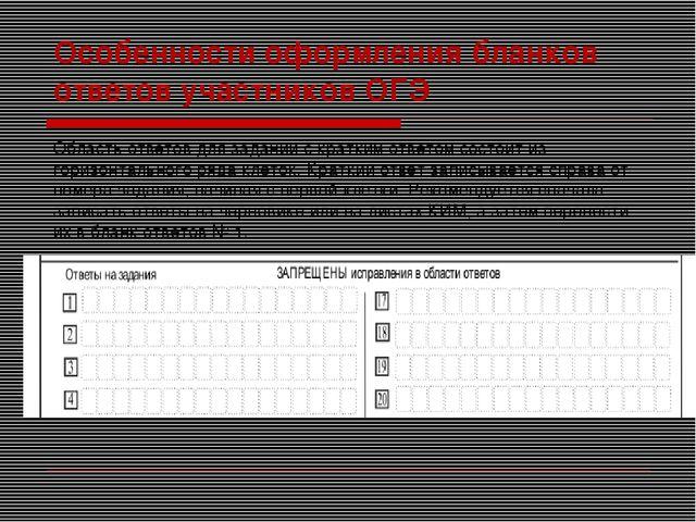 Особенности оформления бланков ответов участников ОГЭ Область ответов для зад...