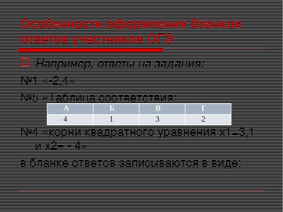 Особенности оформления бланков ответов участников ОГЭ Например, ответы на зад...