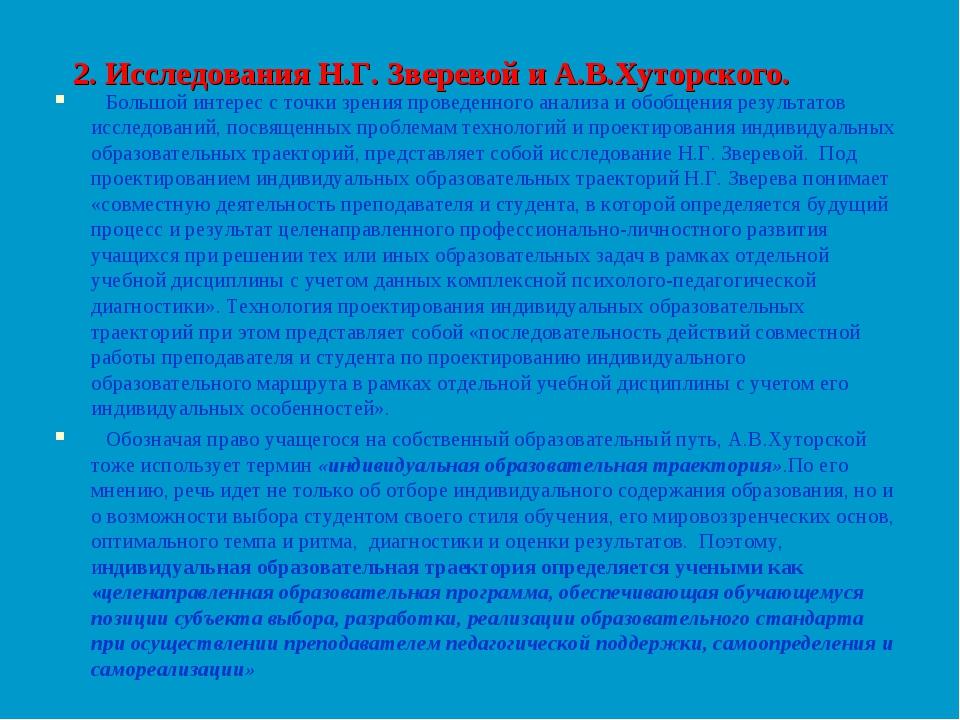 2. Исследования Н.Г. Зверевой и А.В.Хуторского. Большой интерес с точки зрени...