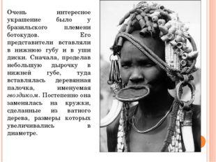 Очень интересное украшение было у бразильского племени ботокудов. Его предста