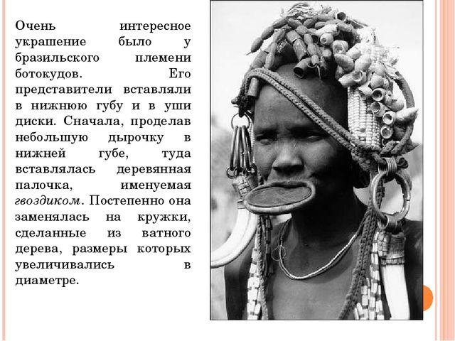 Очень интересное украшение было у бразильского племени ботокудов. Его предста...