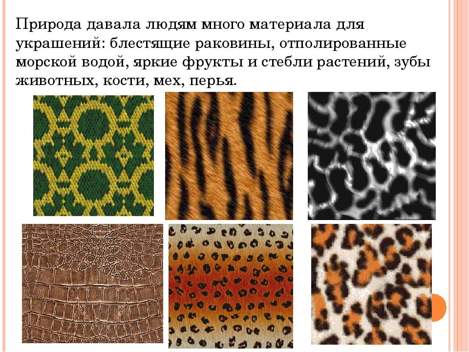 Природа давала людям много материала для украшений: блестящие раковины, отпол...