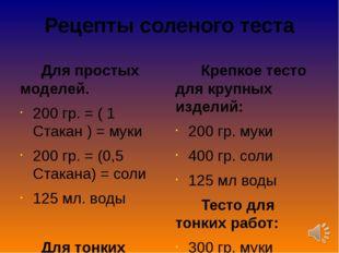 Рецепты соленого теста Для простых моделей. 200 гр. = ( 1 Стакан ) = муки 200