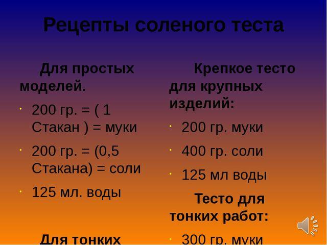 Рецепты соленого теста Для простых моделей. 200 гр. = ( 1 Стакан ) = муки 200...
