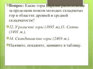 Вопрос: Какие горы Евразии расположены за пределами поясов молодых складчатых