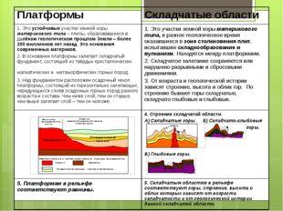 Платформы Складчатые области 1. Этоустойчивыеучастки земной корыматерикового