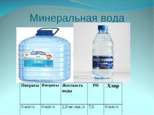 Минеральная вода НитратыНитритыЖесткость водыPHХлор 0 млг/л0 млг/л2,9 м
