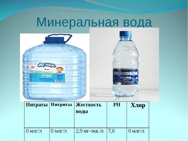 Минеральная вода НитратыНитритыЖесткость водыPHХлор 0 млг/л0 млг/л2,9 м...