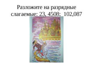 Разложите на разрядные слагаемые: 23, 4508; 102,087