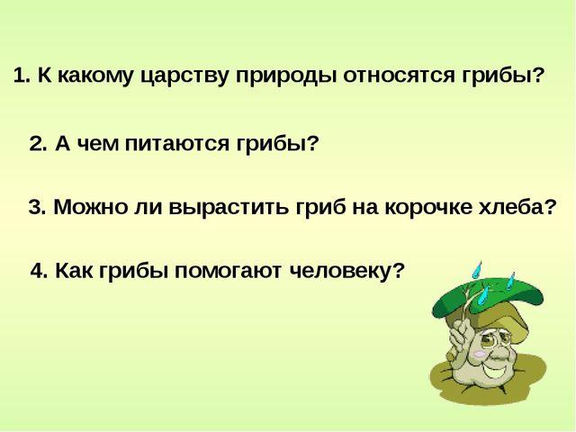 1. К какому царству природы относятся грибы? 3. Можно ли вырастить гриб на ко...