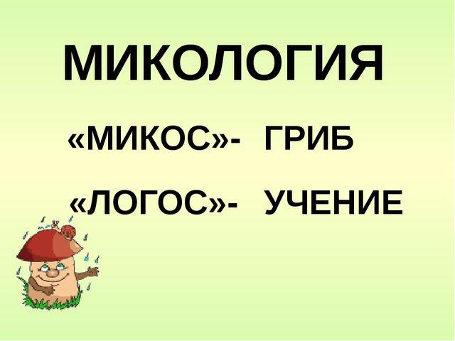 МИКОЛОГИЯ «МИКОС»- ГРИБ «ЛОГОС»- УЧЕНИЕ