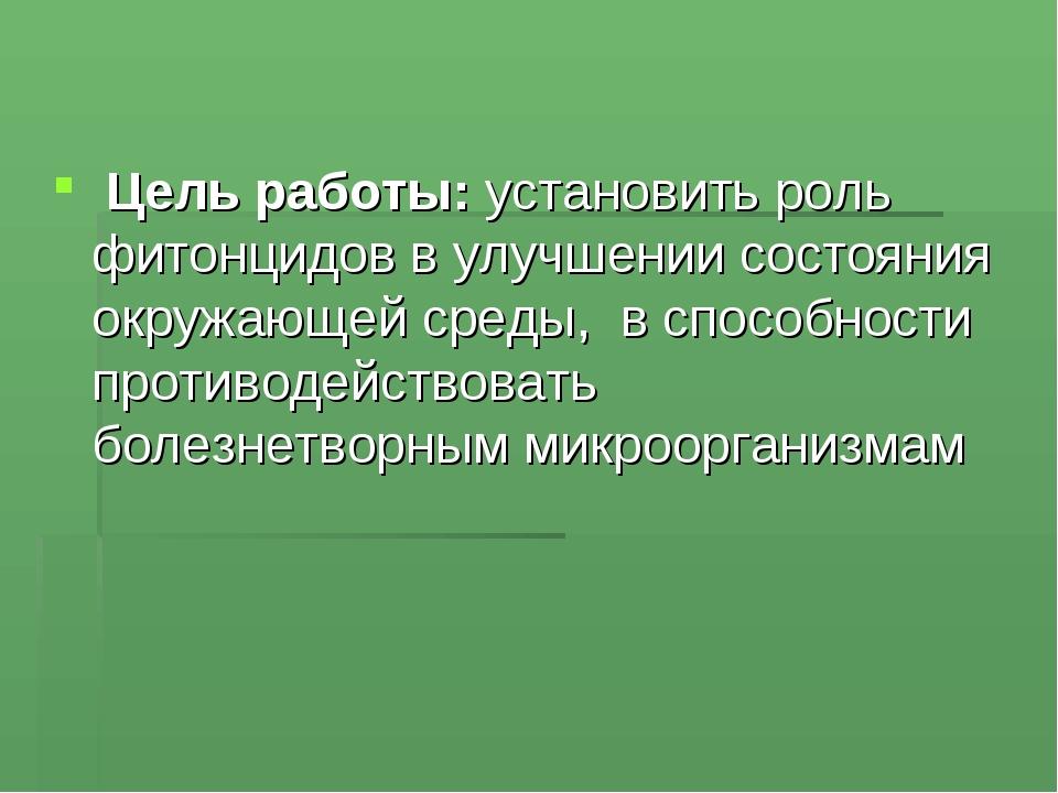 Цель работы: установить роль фитонцидов в улучшении состояния окружающей сре...