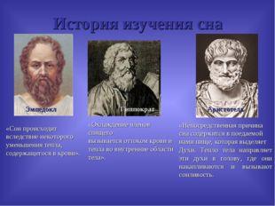 История изучения сна Эмпедокл Гиппократ Аристотель «Сон происходит вследствие