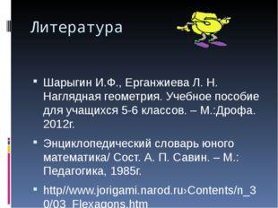 Литература Шарыгин И.Ф., Ерганжиева Л. Н. Наглядная геометрия. Учебное пособи