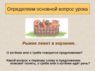 Рыжик лежит в корзинке. О котёнке или о грибе говорится предложении? Какой в