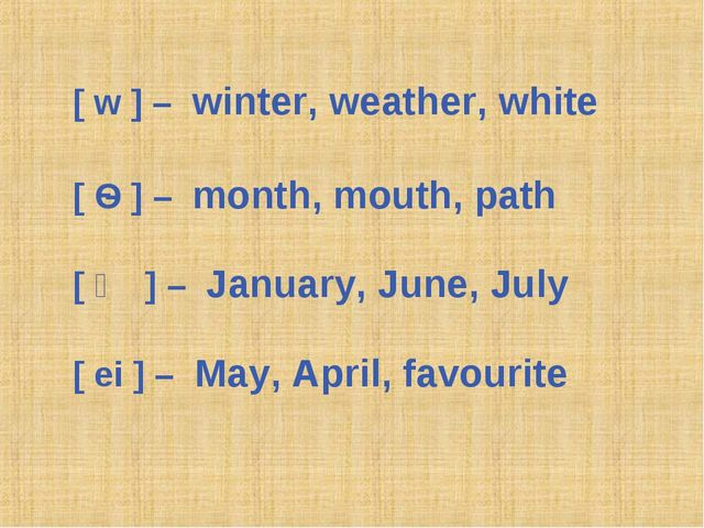 [ w ] – winter, weather, white [ Ѳ ] – month, mouth, path [ ʤ ] – January, Ju...