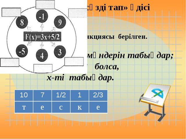 функциясы берілген. 1)f(5); f(3); f(1) мәндерін табыңдар; 2)f(x) = - 4; f(x)...