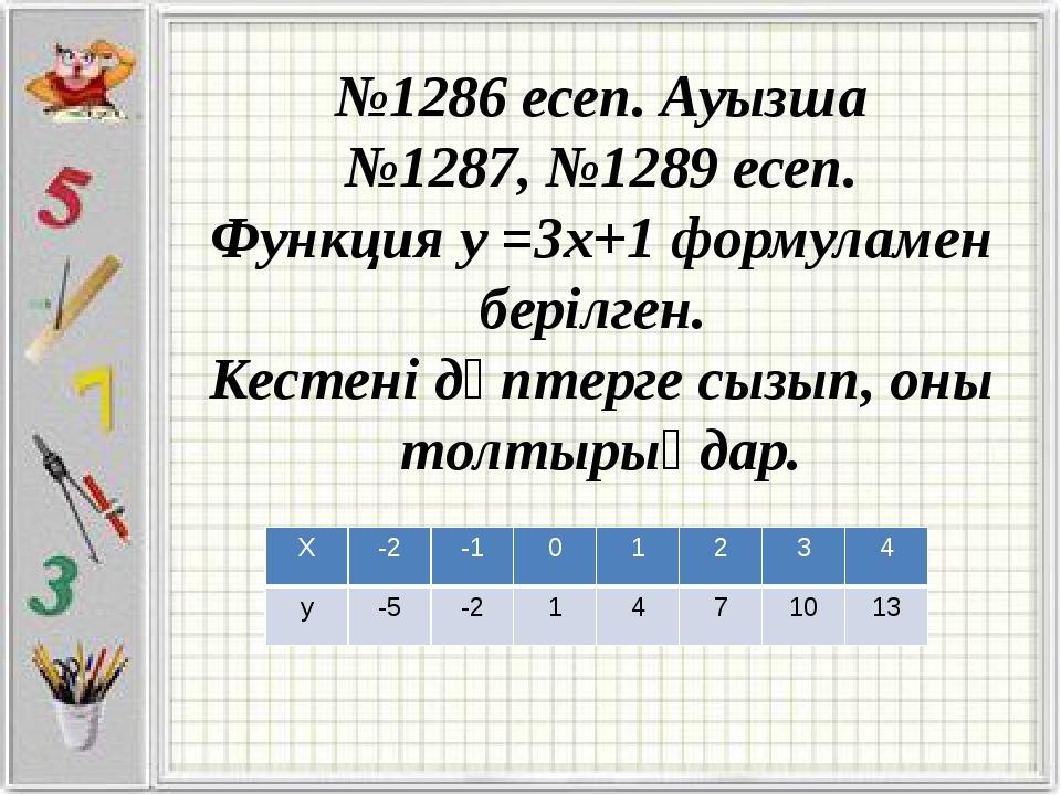 №1286 есеп. Ауызша №1287, №1289 есеп. Функция у =3х+1 формуламен берілген. К...
