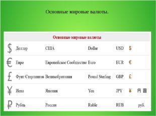 Основные мировые валюты.