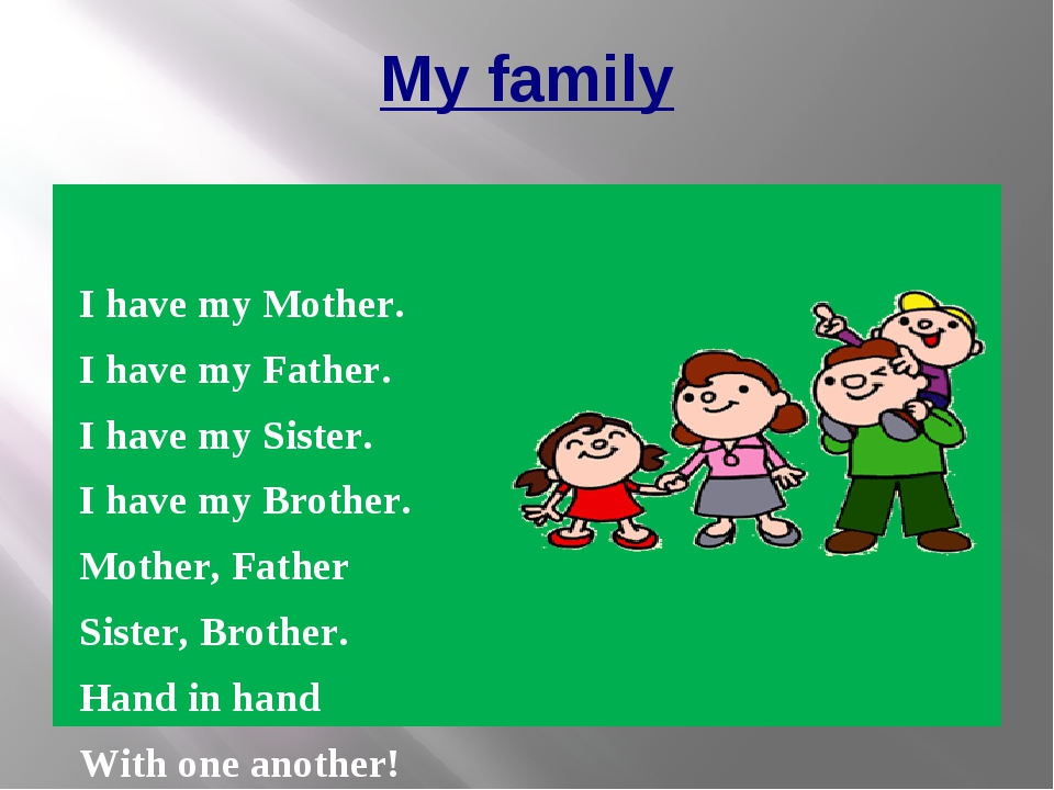 My family I have my Mother. I have my Father. I have my Sister. I have my Bro...