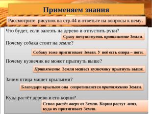 Рассмотрите рисунок на стр.44 и ответьте на вопросы к нему. Применяем знания