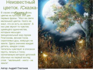 Неизвестный цветок. /Сказка-быль/ В сказке описывается жизнь цветка на пусты