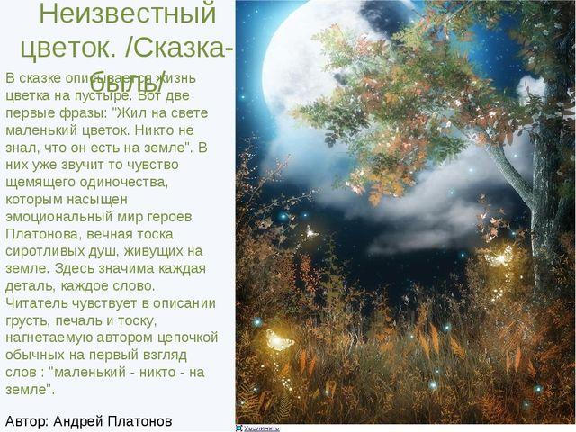 Неизвестный цветок. /Сказка-быль/ В сказке описывается жизнь цветка на пусты...