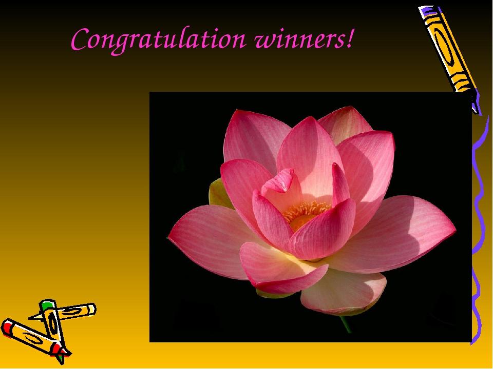 Congratulation winners!