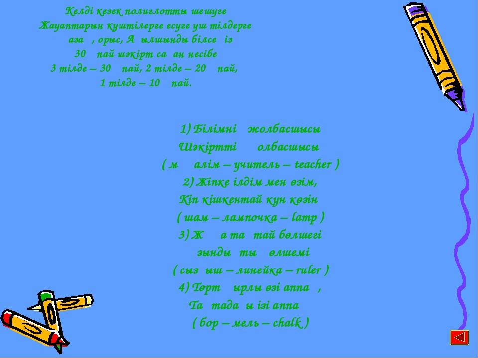 1) Білімнің жолбасшысы Шәкірттің қолбасшысы ( мұғалім – учитель – teacher ) 2...