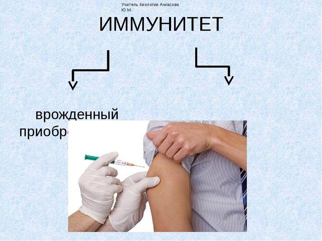 ИММУНИТЕТ врожденный приобретенный Учитель биологии Ачкасова Ю.М. Врожденный...