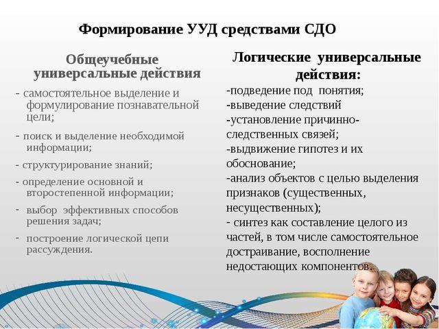 Формирование УУД средствами СДО Общеучебные универсальные действия - самосто...