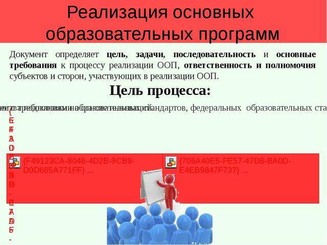 Реализация основных образовательных программ Цель процесса: Документ определ...