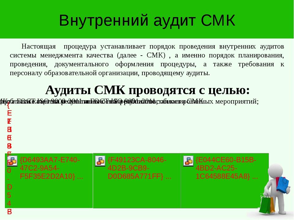 Внутренний аудит СМК Аудиты СМК проводятся с целью: Настоящая процедура уста...