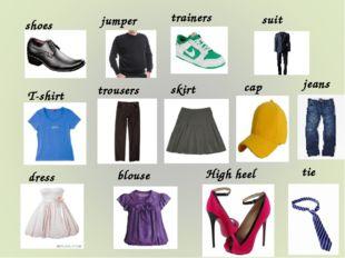 T-shirt High heel blouse dress skirt trousers tie cap jeans jumper